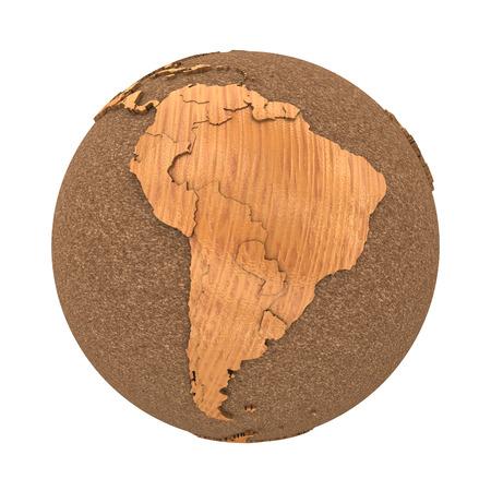 continente americano: América del Sur en el modelo 3D del planeta tierra con madera océanos hechos de corcho y de madera continentes con los países en relieve. Ilustración 3D aislada en el fondo blanco.