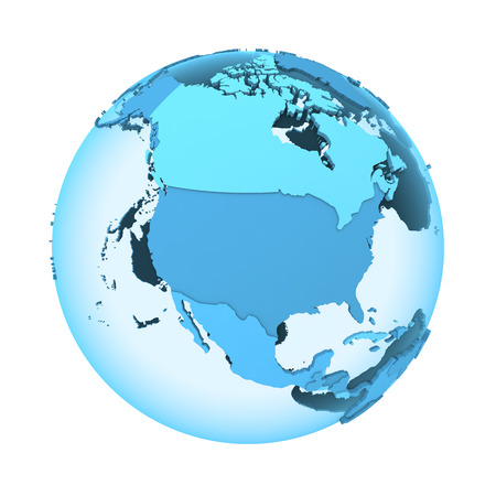 diplomatic: North America on translucent model of planet Earth with visible continents blue shaded countries. 3D illustration isolated on white background.