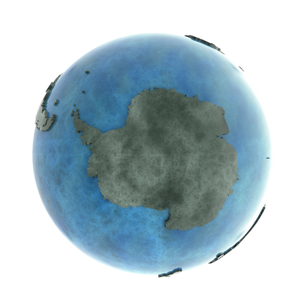 background antarctica: Antarctica on 3D model of planet Earth made of blue marble with embossed countries and blue ocean. 3D illustration isolated on white background.