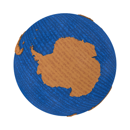 background antarctica: Antarctica on wooden model of planet Earth with embossed continents and visible country borders. 3D illustration isolated on white background. Stock Photo