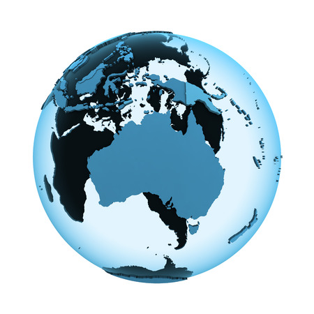 visible: Australia on translucent model of planet Earth with visible continents blue shaded countries. 3D illustration isolated on white background.