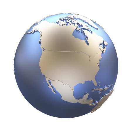 North America on elegant metallic model of planet Earth with blue ocean and shiny embossed continents with visible country borders. 3D illustration isolated on white background. Stok Fotoğraf