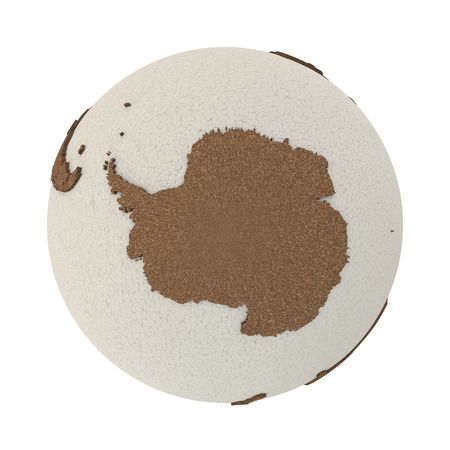 background antarctica: Antarctica on 3D model of planet Earth with oceans made of polystyrene and continents made of cork with embossed countries. 3D illustration isolated on white background. Stock Photo