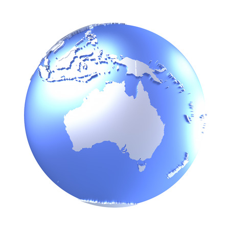 australasia: Australia on bright metallic model of planet Earth with blue ocean and shiny embossed continents with visible country borders. 3D illustration isolated on white background. Stock Photo