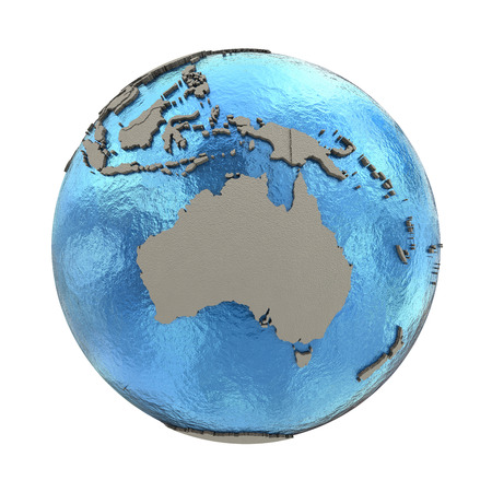 diplomatic: Australia on 3D model of blue Earth with embossed countries and blue ocean. 3D illustration isolated on white background.