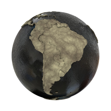 oily: South America on 3D model of planet Earth with black oily oceans and concrete continents with embossed countries. 3D illustration isolated on white background.