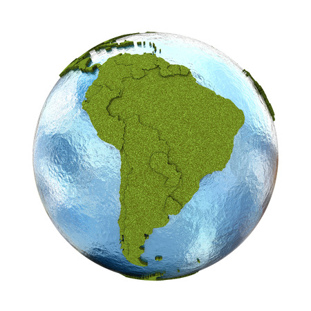 grassy: South America on 3D model of planet Earth with grassy continents with embossed countries and blue ocean. 3D illustration isolated on white background.