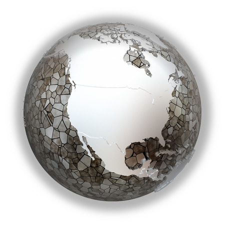 the oceans: North America on metallic model of planet Earth. Shiny steel continents with embossed countries and oceans made of steel plates. 3D illustration isolated on white background.