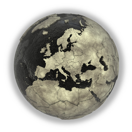 oily: Europe on 3D model of planet Earth with black oily oceans and concrete continents with embossed countries. Concept of petroleum industry. 3D illustration isolated on white background.