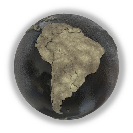 sea disaster: South America on 3D model of planet Earth with black oily oceans and concrete continents with embossed countries. Concept of petroleum industry. 3D illustration isolated on white background. Stock Photo
