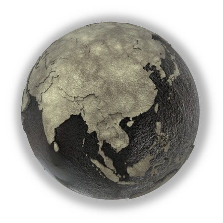 oily: Southeast Asia on 3D model of planet Earth with black oily oceans and concrete continents with embossed countries. Concept of petroleum industry. 3D illustration isolated on white background. Stock Photo