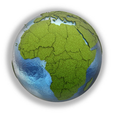 grassy: Africa on 3D model of planet Earth with grassy continents with embossed countries and blue ocean. 3D illustration isolated on white background.