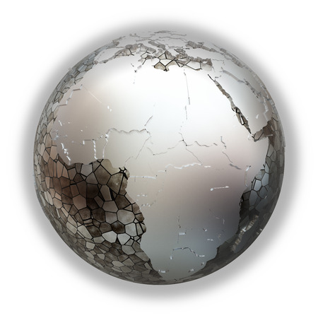 diplomatic: Africa on metallic model of planet Earth. Shiny steel continents with embossed countries and oceans made of steel plates. 3D illustration isolated on white background.