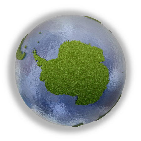 background antarctica: Antarctica on 3D model of planet Earth with grassy continents with embossed countries and blue ocean. 3D illustration isolated on white background.