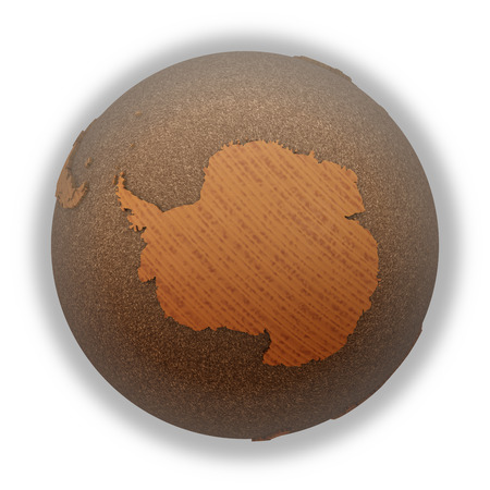 background antarctica: Antarctica on 3D model of wooden planet Earth with oceans made of cork and wooden continents with embossed countries. 3D illustration isolated on white background. Stock Photo