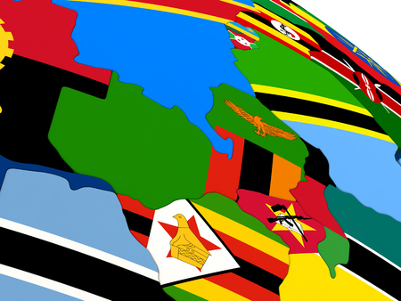zambian flag: Map of Zambia on globe with embedded flags of countries. 3D illustration. Stock Photo