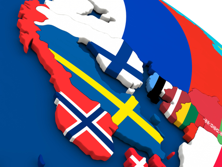 scandinavia: Map of Scandinavia on globe with embedded flags of countries. 3D illustration.