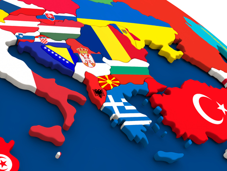 Map of Greece on globe with embedded flags of countries. 3D illustration. Stock Illustration - 57430059