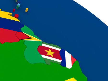 french guiana: Map of Guyana, Suriname and French Guiana on globe with embedded flags of countries. 3D illustration.