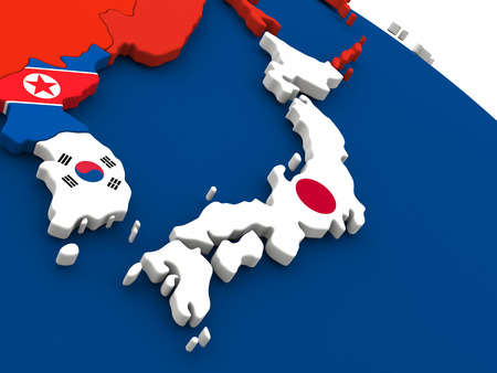south asian: Map of Japan on globe with embedded flags of countries. 3D illustration.