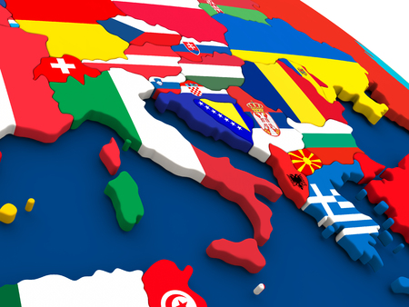 italian politics: Map of Italy on globe with embedded flags of countries. 3D illustration.