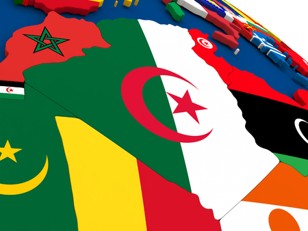 diplomacy: Map of Algeria on globe with embedded flags of countries. 3D illustration.
