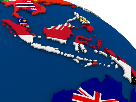 australasia: Map of Indonesia on globe with embedded flags of countries. 3D illustration.