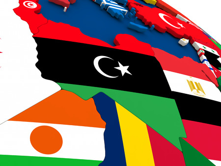 diplomacy: Map of Libya on globe with embedded flags of countries. 3D illustration.