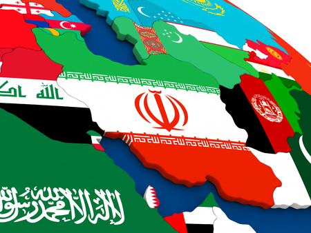 iranian: Map of Iran on globe with embedded flags of countries. 3D illustration.