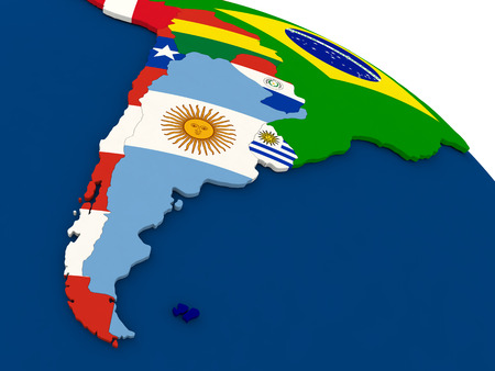 chilean: Map of Argentina and Chile on globe with embedded flags of countries. 3D illustration. Stock Photo