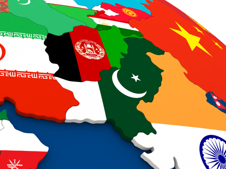 afghan: Map of Afghanistan and Pakistan on globe with embedded flags of countries. 3D illustration.