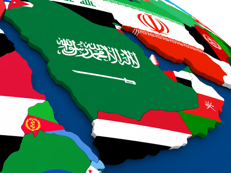 peninsula: Map of Arab peninsula on globe with embedded flags of countries. 3D illustration. Stock Photo