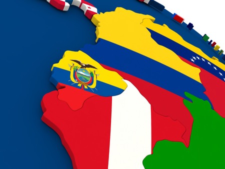 republic of ecuador: Map of Ecuador on globe with embedded flags of countries. 3D illustration.