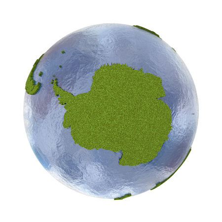 grassy: Antarctica on 3D model of planet Earth with grassy continents with embossed countries and blue ocean. 3D illustration isolated on white background.