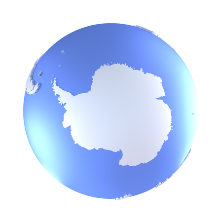 background antarctica: Antarctica on bright metallic model of planet Earth with blue ocean and shiny embossed continents with visible country borders. 3D illustration isolated on white background.