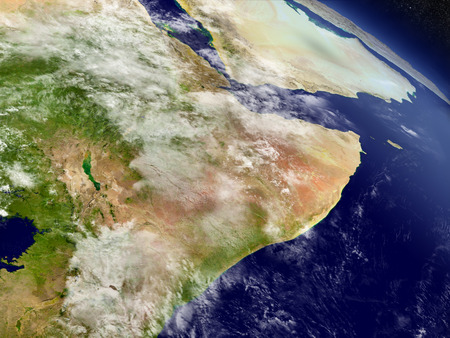 Somalia and Ethiopia with surrounding region as seen from Earths orbit in space. 3D illustration with highly detailed realistic planet surface and clouds in the atmosphere. Banco de Imagens