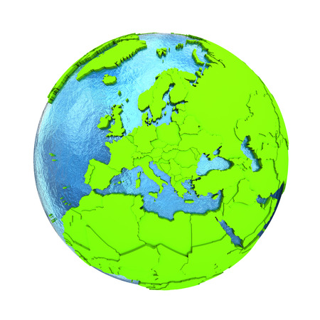 watery: Europe on elegant green 3D model of planet Earth with realistic watery blue ocean and green continents with visible country borders. 3D illustration isolated on white background.