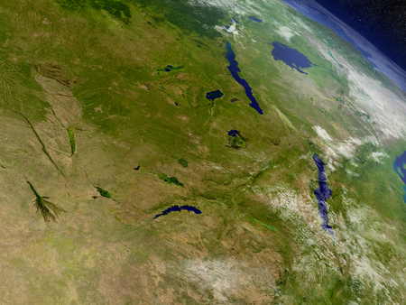 malawian: Zambia with surrounding region as seen from Earths orbit in space. 3D illustration with highly detailed realistic planet surface and clouds in the atmosphere. Stock Photo