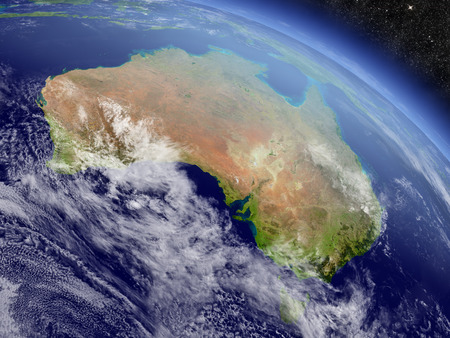 an orbit: Australia with surrounding region as seen from Earths orbit in space. 3D illustration with highly detailed realistic planet surface and clouds in the atmosphere.