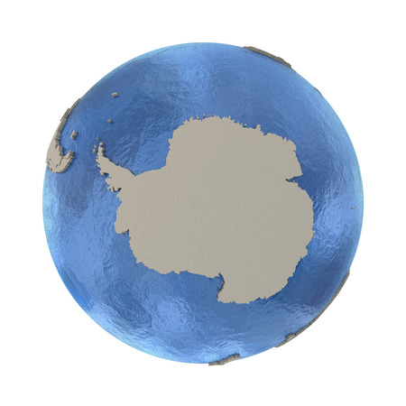 background antarctica: Antarctica on 3D model of blue Earth with embossed countries and blue ocean. 3D illustration isolated on white background.