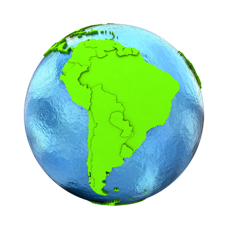 watery: South America on elegant green 3D model of planet Earth with realistic watery blue ocean and green continents with visible country borders. 3D illustration isolated on white background. Stock Photo
