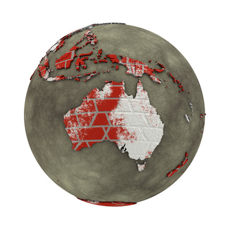 brick earth: Australia on brick wall model of planet Earth with continents made of red bricks and oceans of wet concrete. Concept of global construction. 3D illustration isolated on white background.