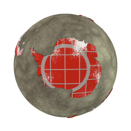 background antarctica: Antarctica on brick wall model of planet Earth with continents made of red bricks and oceans of wet concrete. Concept of global construction. 3D illustration isolated on white background. Stock Photo