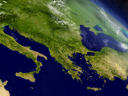 Greece with surrounding region as seen from Earth's orbit in space. 3D illustration with highly detailed realistic planet surface and clouds in the atmosphere.
