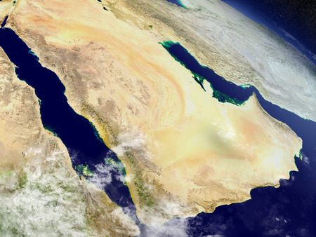 an orbit: Arab peninsula with surrounding region as seen from Earths orbit in space. 3D illustration with highly detailed realistic planet surface and clouds in the atmosphere. Stock Photo