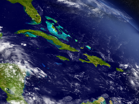 ha: Cuba, Jamaica, Haiti and Dominican Republic with surrounding region as seen from Earths orbit in space. 3D illustration with highly detailed realistic planet surface and clouds in the atmosphere.