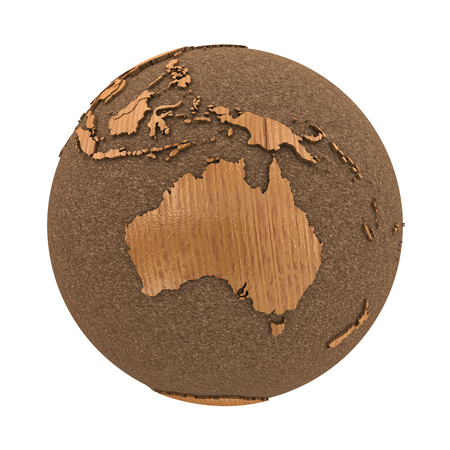 australasia: Australia on 3D model of wooden planet Earth with oceans made of cork and wooden continents with embossed countries. 3D illustration isolated on white background.