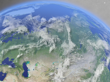 environment geography: Russia with surrounding region as seen from Earths orbit in space. 3D illustration with highly detailed realistic planet surface and clouds in the atmosphere.