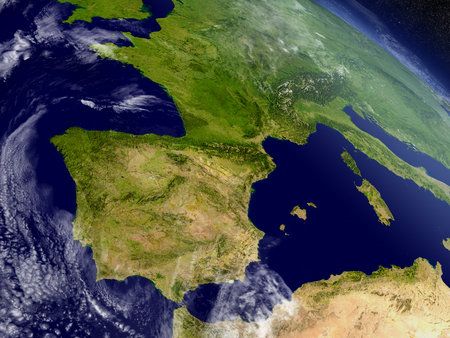 iberian: Spain and Portugal with surrounding region as seen from Earths orbit in space. 3D illustration with highly detailed realistic planet surface and clouds in the atmosphere.