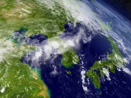 south space: South Korean and North Korea with surrounding region as seen from Earths orbit in space. 3D illustration with highly detailed realistic planet surface and clouds in the atmosphere.